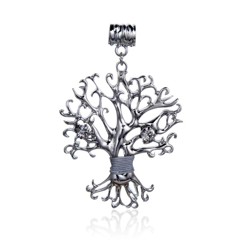 CZ Cubic Zirconia Tree of Life Shape Pendant 2 Inch Long
