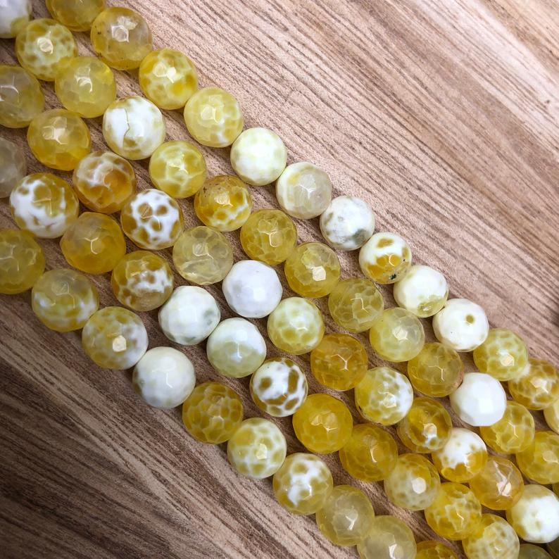 Natural Honey Agate Beads, Honey Agate Round Shape 8 mm Faceted Beads