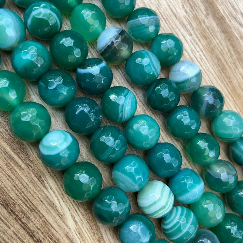 Natural Green Stripped Agate Beads, Agate Faceted 10 mm Round Beads