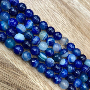 Natural Navy Blue Agate Beads, Agate Round 8 mm Faceted Beads