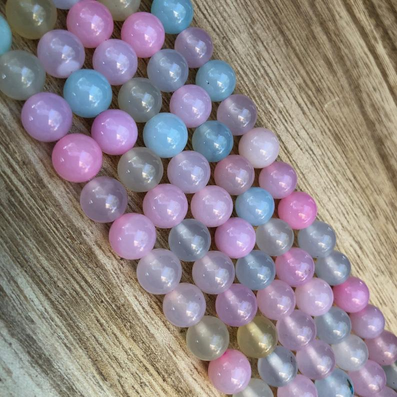 Natural Easter Agate Beads, Agate Round Shape Beads, 8 mm Agate Stone Beads