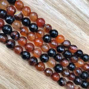 Natural Orange and Black Agate Beads, Agate 8 mm Faceted Oval Shape Beads