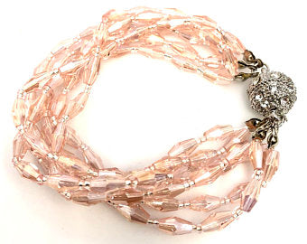 Crystal Glass Beaded Bracelet, Rhinestone Multi Strand, Magnetic Clasp Bracelet