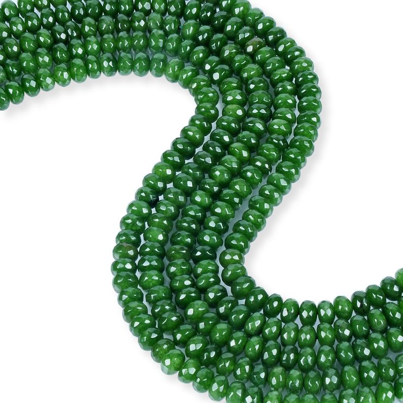 Natural Emerald Jade Beads, Roundelle Shape Beads, 8 mm Faceted Beads