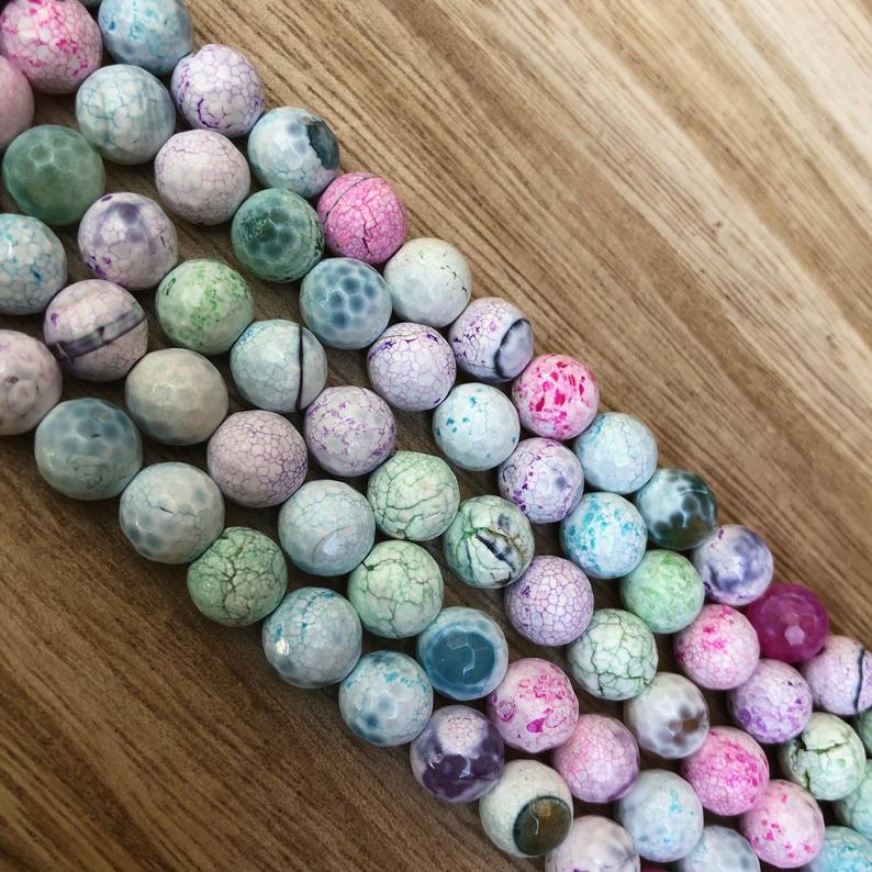 Natural Crack Agate Pastel Beads, Crack Agate 8 mm Round Shape Beads