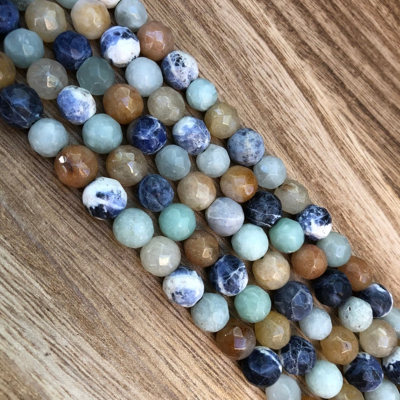 Natural Mix Agate Beads, Agate Round Shape Beads, Agate Faceted 8 mm Beads