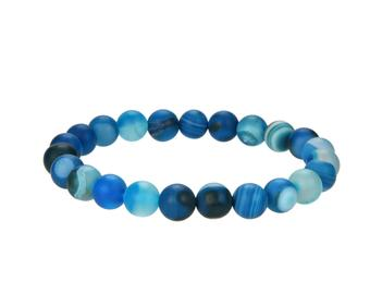 Natural Stripped Agate Beaded Bracelet, 8 mm Round Agate Beaded Bracelet