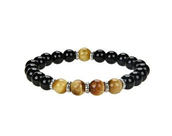 Natural Black Onyx and Tiger Eye Beaded Bracelet With Metal, 8 mm Round Shape Beaded Bracelet