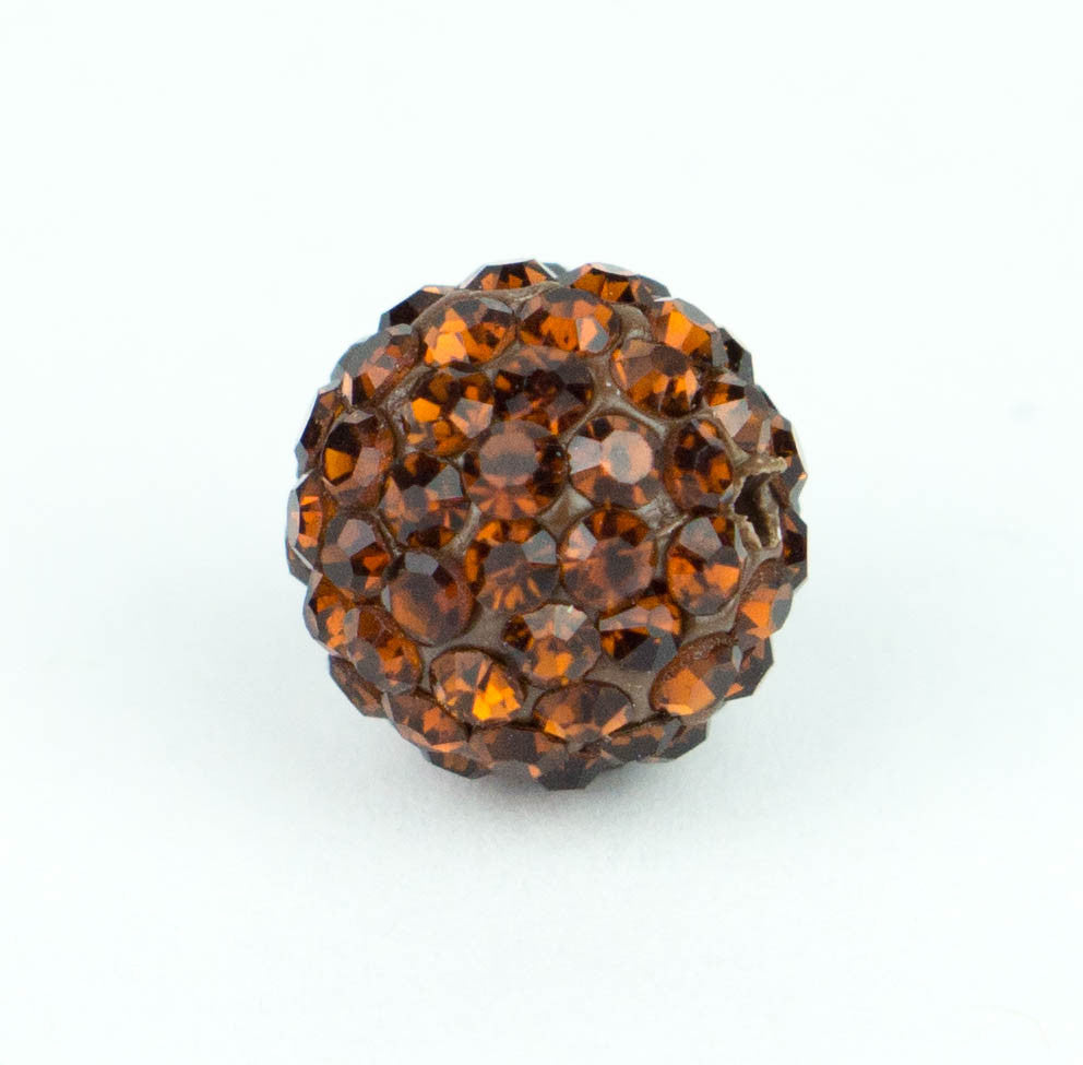 Crystal Pave Beads 12 mm Dk. Topaz