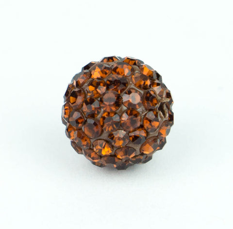 Crystal Pave Beads 10 mm Dk. Topaz