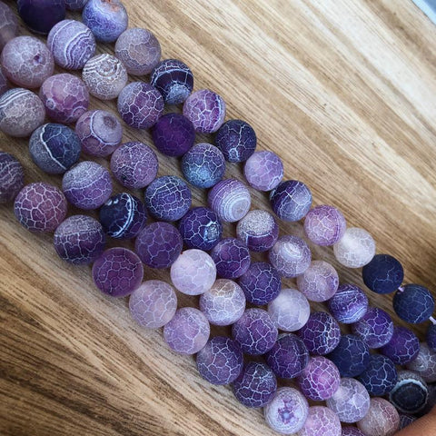 Natural Sand Purple Agate Round Shape Beads, Purple Agate 10 mm Beads