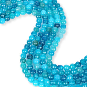 Natural Ocean Blue Spotted Agate Beads, Agate 8 mm Faceted Beads, Round Shape Agate Beads