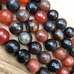 Natural Orange and Black Agate Beads, Agate 14 mm Faceted Round Shape Beads