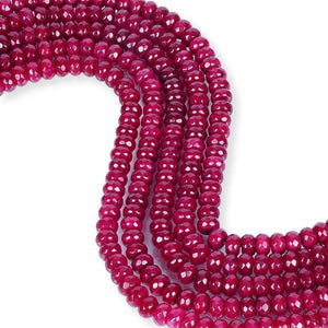 Natural Ruby Jade Beads, Roundelle Shape Beads, 8 mm Faceted Beads