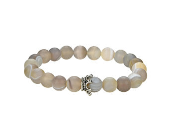 Natural Agate Beaded Bracelet With Metal, Agate 8 mm Round Beaded Bracelet