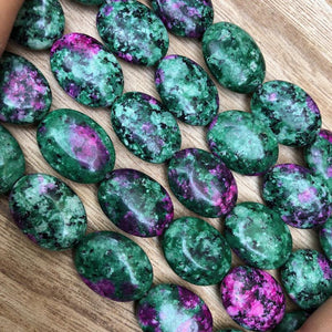 Synthetic Zoisite Beads, Zoisite Smooth 12x16 mm Oval Shape Beads