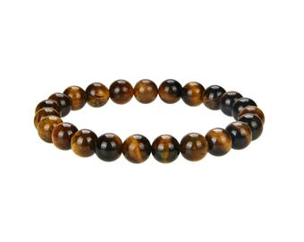 Natural Tiger Eye Beaded Braceles, 8 mm Round Beaded Bracelets