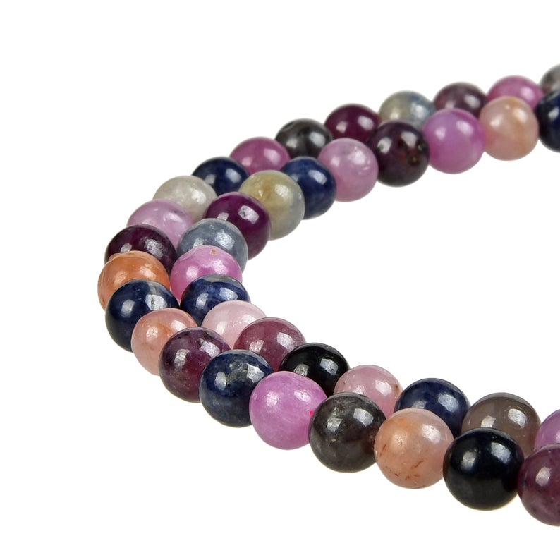 Multi-Color Natural Tourmaline Beads, Tourmaline Round 6 mm Beads