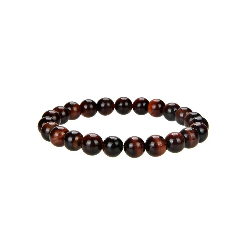 Natural Stripped Red Tiger Eye Beaded Bracelet, Tiger Eye 8 mm Round Beaded Bracelet