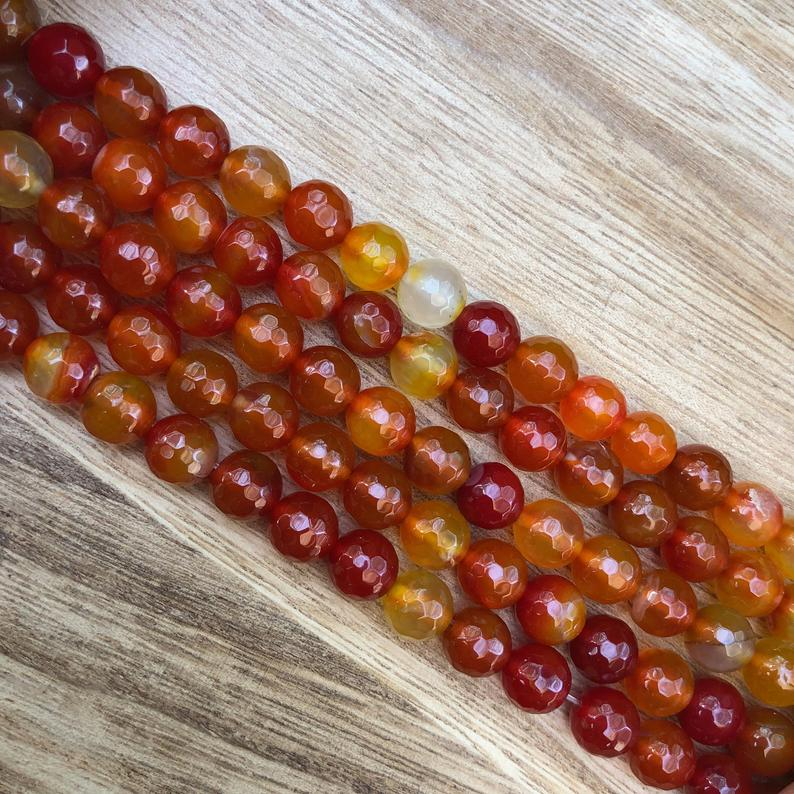 Natural Orange Agate Smooth Beads, Agate 8 mm Round Shape Faceted Beads