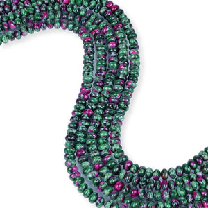 Natural Ruby Zoisite Beads, Roundelle Shape Zoisite Beads, Ruby Zoisite 6 mm Smooth Beads
