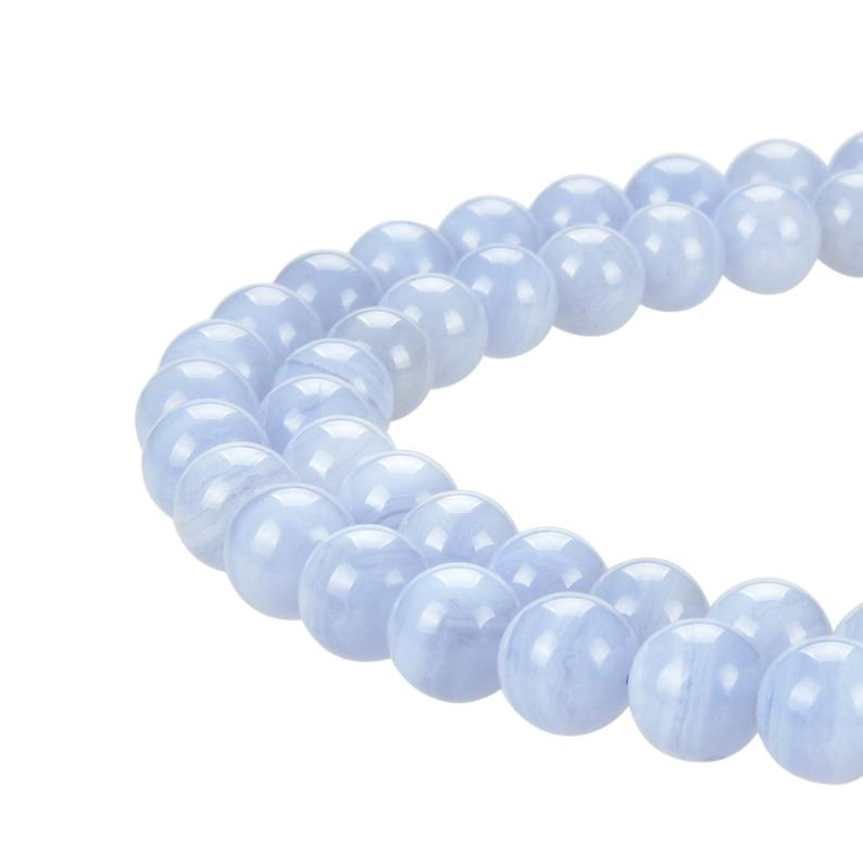 Natural Blue Lace Agate Beads, Blue Lace Agate Round 8 mm Smooth Beads