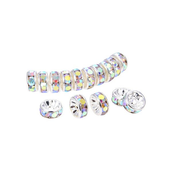 Silver Plated Irrisdent Color Crystal Beads, Spacer Roundelle Beads