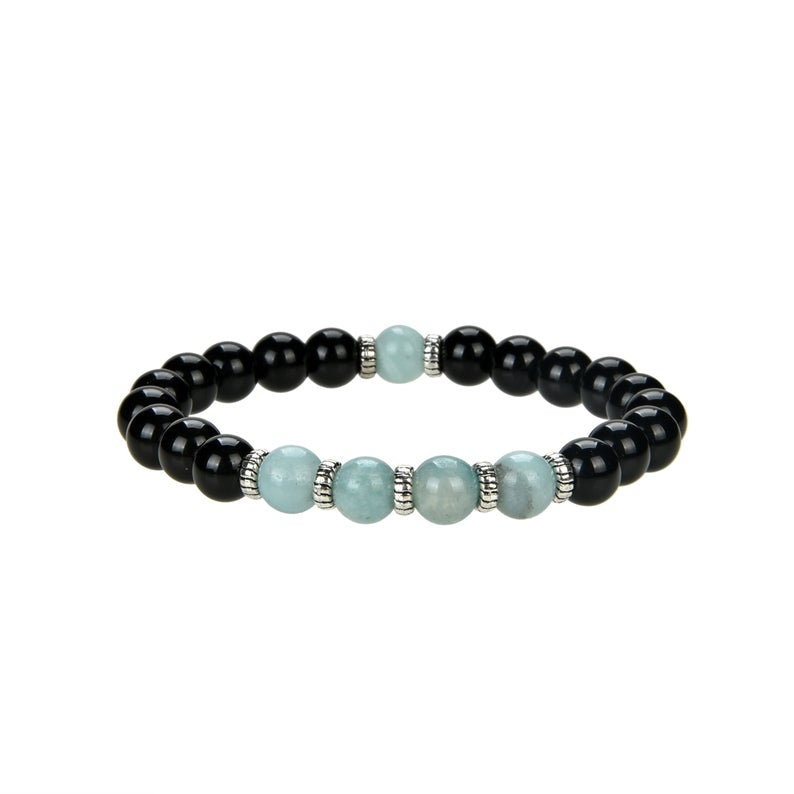 Natural Black Onyx and Amazonite Beaded Bracelet With Metal, 8 mm Round Beaded Bracelet