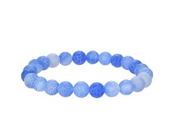 Natural Matte Frosted Agate Beaded Bracelet, Agate Round 8 mm Beaded Bracelet