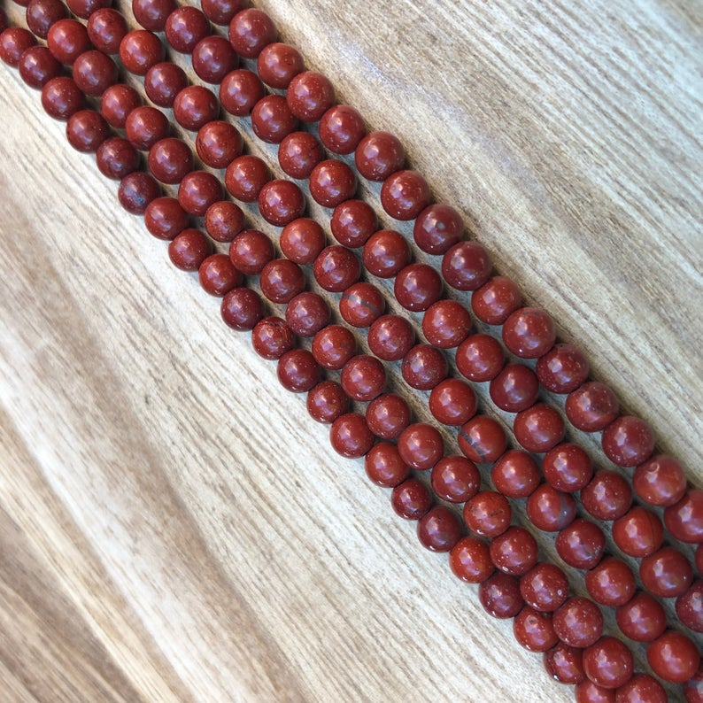 Natural Red Jasper Beads, 4 mm Jasper Beads, Jasper Round Shape Smooth Beads