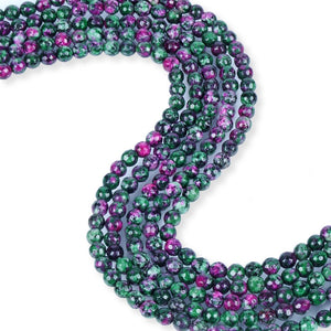 Natural Ruby Zoisite Beads, Faceted 6 mm Zoisite Beads, Round Shape Beads