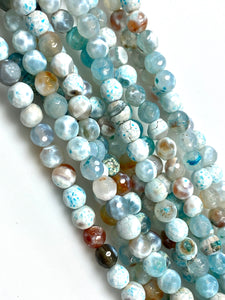 Natural Aquamarine Agate Beads / Faceted Round Shape Beads / Healing Energy Stone Beads / 6mm 2 Strand Gemstone Beads