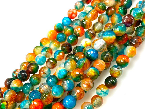 Natural Multi Color Agate Beads / Healing Energy Stone Beads / Faceted Round Shape Beads / 6mm 2 Strand Gemstone Beads