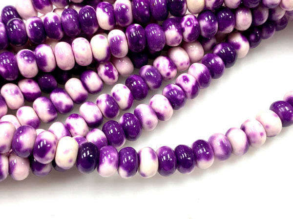 Natural Purple Rain Jasper Beads / Faceted Rondelle Shape Beads / Healing Energy Stone Beads / 6mm 2 Strand Gemstone Beads