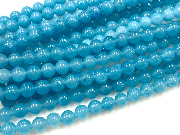Natural Blue Sponge Agate Beads / Smooth Round Shape Beads / Healing Energy Stone Beads / 6mm 2 Strand Gemstone Beads