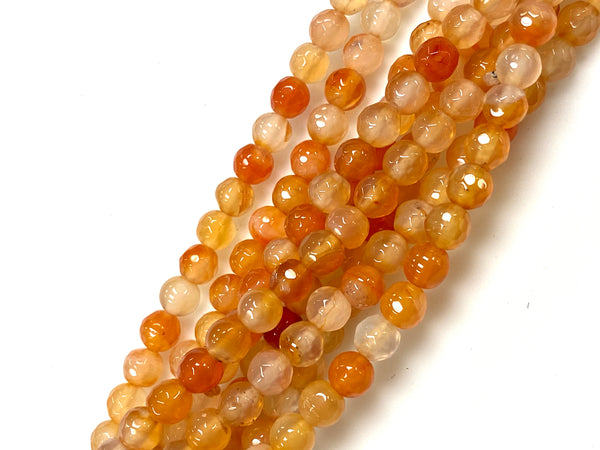 Natural Orange Agate Beads / Healing Energy Stone Beads / Faceted Round Shape Beads / 6mm 2 Strand Gemstone Beads