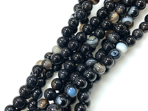 Natural Black Agate Beads / Smooth Round Shape Beads / Healing Energy Stone Beads / 6mm 2 Strand Gemstone Beads