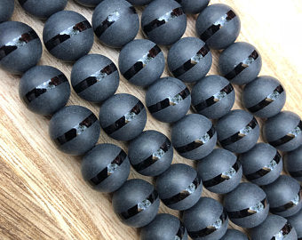 Natural Stripped Black Onyx Beads, Onyx Round Shape 8, 10, 12, 14 mm Faceted Beads