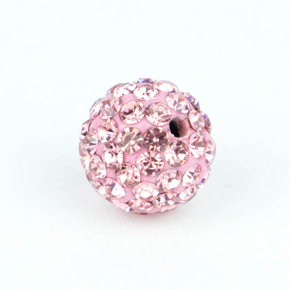 Crystal Pave Beads 12 mm Lt. Rose