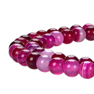 Hot Pink Stripped Agate Beads, Stripped Pink Agate 6 mm Round Beads
