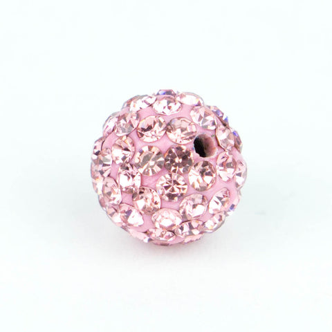 Crystal Pave Beads 8 mm Lt. Rose