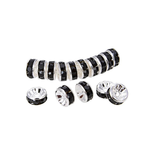 Silver Plated Black Crystal Spacer Beads, Roundelle Shape Spacer Beads