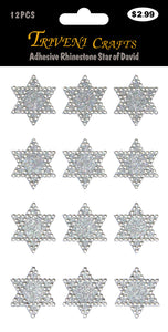 Adhesive Rhinestone Star of David