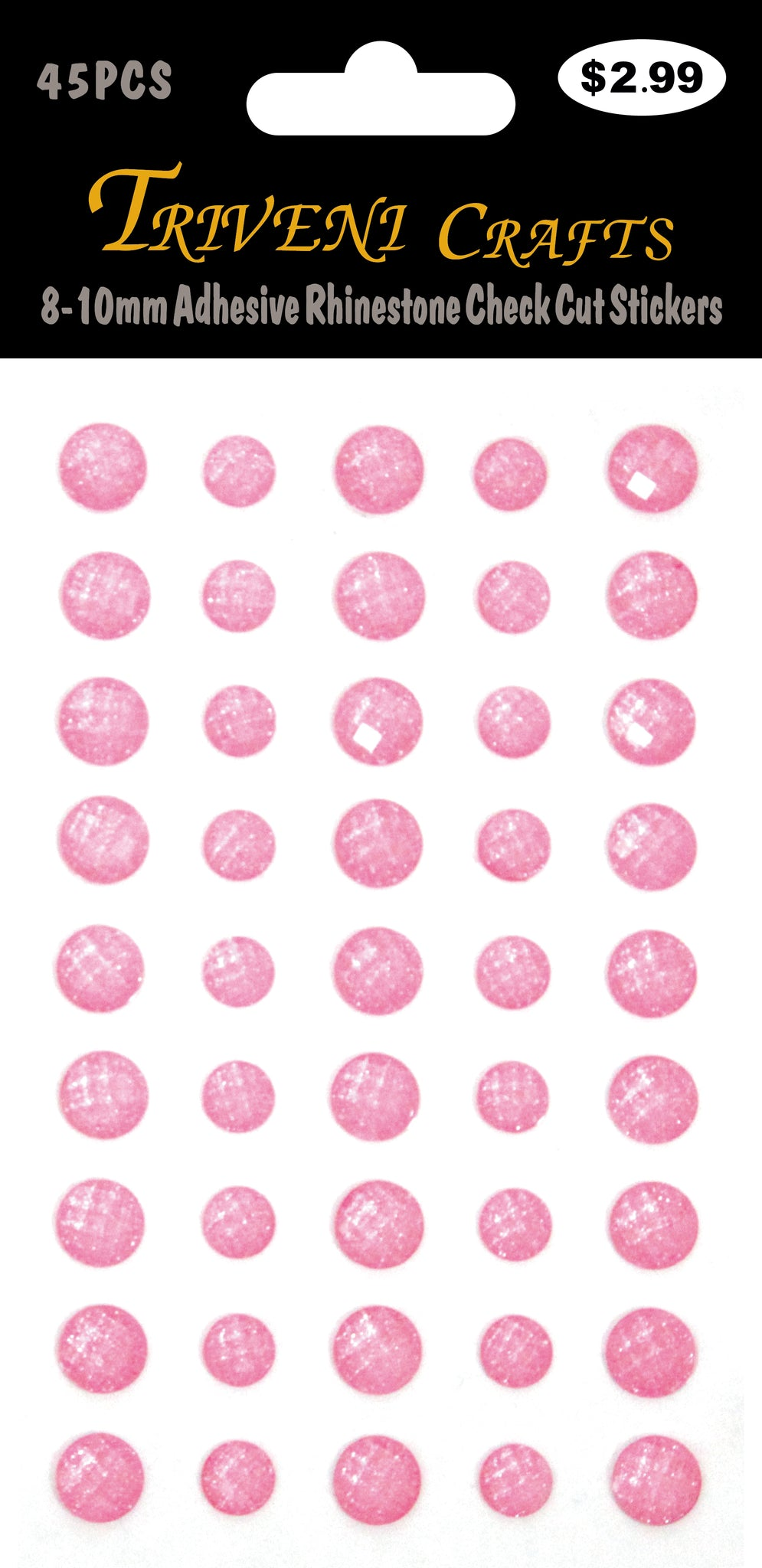 8-10mm Adhesive Rhinestone Check Cut Stickers - Pink