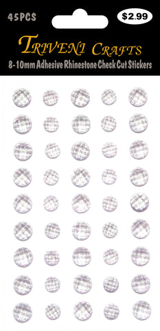 8-10mm Adhesive Rhinestone Check Cut Stickers - Lavender