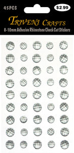 8-10mm Adhesive Rhinestone Check Cut Stickers - Dk. Grey
