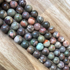Natural Sedona Jasper Smooth Beads, Sedona 10 mm Round Shape Faceted Beads