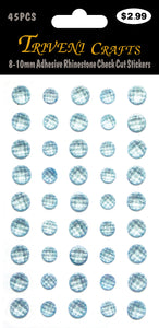 8-10mm Adhesive Rhinestone Check Cut Stickers - Ocean Blue