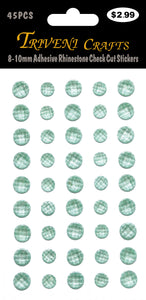 8-10mm Adhesive Rhinestone Check Cut Stickers - Lt. Green