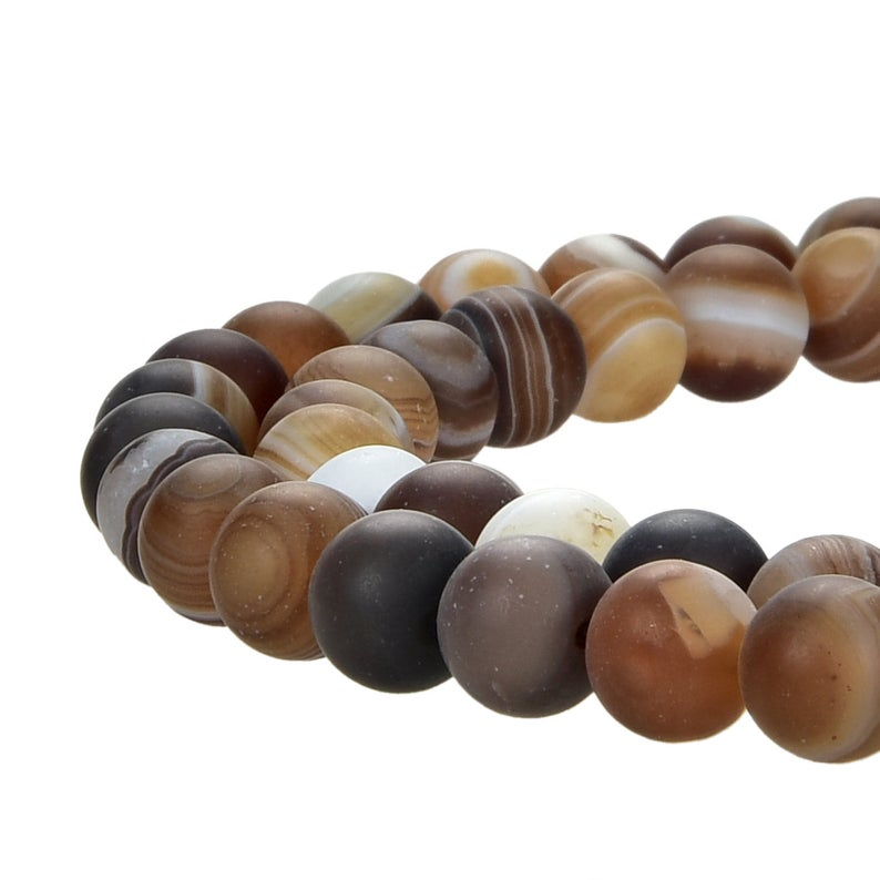 Natural Matte Coffee Brown Stripped Agate Beads, Coffee Brown Agate Round 6 mm Smooth Beads